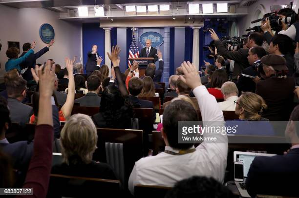 National Security Advisor HR McMaster and White House press secretary Sean Spicer field questions from reporters during a press briefing at the White...