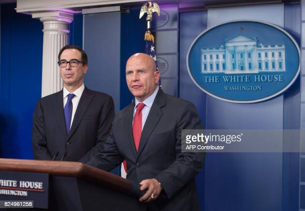 US National Security Advisor HR McMaster speaks at the press briefing with Treasury Secretary Steve Mnuchin at the White House in Washington DC on...