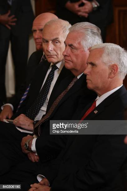 National Security Advisor HR McMaster White House Chief of Staff John Kelly Secretary of State Rex Tillerson and Vice President Mike Pence attend a...