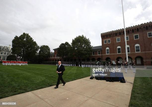 National Security Advisor Lt Col HR McMaster walks away after speaking at a ceremony to commemorate the anniversary of the 1983 bombing of the Marine...