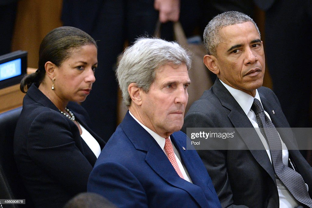 U.S National Security Advisor Susan E. Rice, U.S. Secretary of State <a gi-track='captionPersonalityLinkClicked' href=/galleries/search?phrase=John+Kerry&family=editorial&specificpeople=154885 ng-click='$event.stopPropagation()'>John Kerry</a> and U.S. President <a gi-track='captionPersonalityLinkClicked' href=/galleries/search?phrase=Barack+Obama&family=editorial&specificpeople=203260 ng-click='$event.stopPropagation()'>Barack Obama</a> sit before Obama gives remarks at a special high-level meeting regarding the Ebola virus outbreak in West Africa during the 69th United Nations General Assembly on September 25, 2014 in New York City. The UN General Assembly brings together political leaders from around the world to report on issues and discuss solutions.