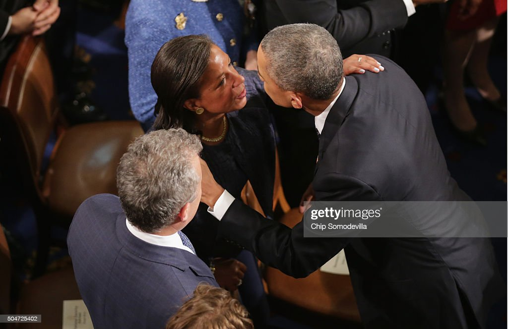 National Security Advisor Susan Rice and US President Barack Obama embrace after delivering the State of the Union speech before members of Congress in the House chamber of the U.S. Capitol January 12, 2016 in Washington, DC. In his last State of the Union, President Obama reflected on the past seven years in office and spoke on topics including climate change, gun control, immigration and income inequality.
