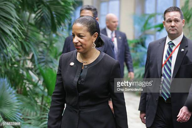 S National Security Advisor Susan Rice arrives for talks at the Palace of the Revolution March 21 2016 in Havana Cuba The first sitting US president...