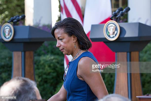 National Security Advisor Susan Rice gets ready for Prime Minister Matteo Renzi of Italy and US President Barack Obama's joint press conference in...