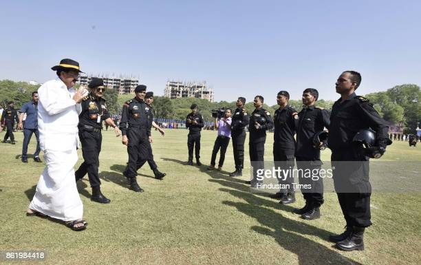 National Security Guard commandos display their skills during a function to celebrate the 33rd NSG Raising Day at Manesar campus on October 16 2017...