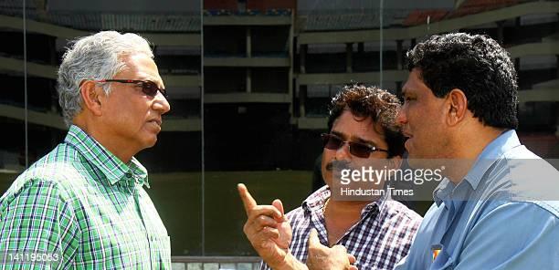 National Selectors Mohinder Amarnath Narendra Hirwani and Surendra Bhave during the Vijay Hazare Trophy final played between Mumbai and West Bengal...