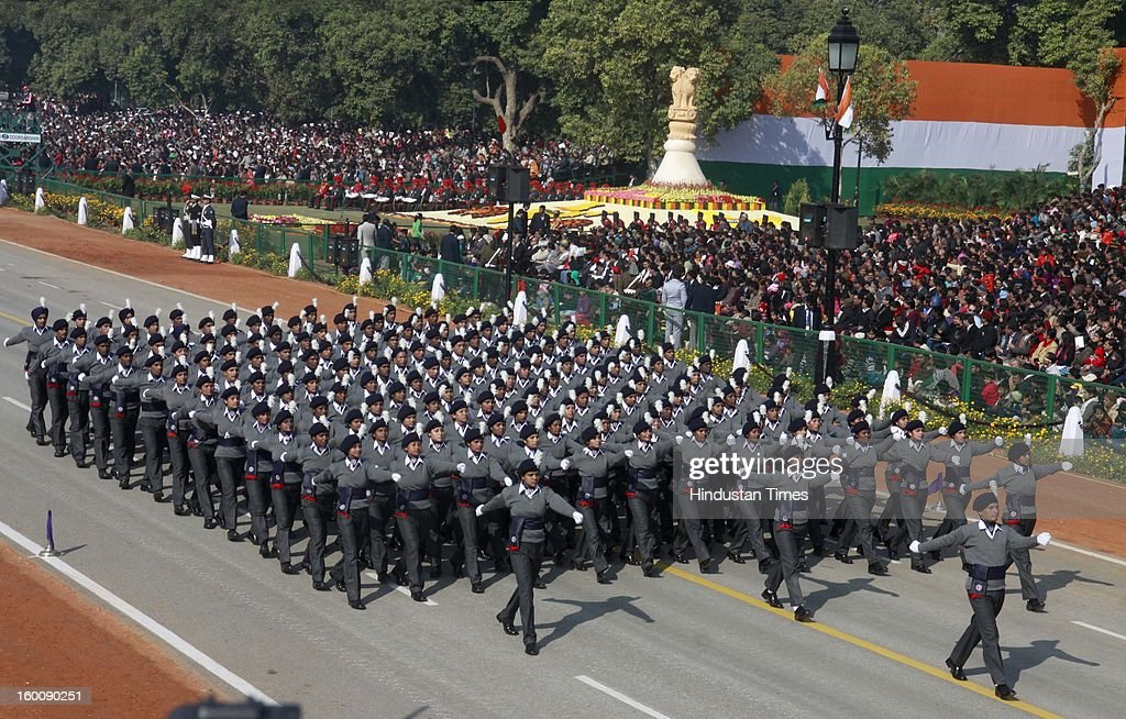 National Service scheme boys and girls marching contingent parade during the 64th Republic Day parade celebration at Raj path on January 26, 2013 in New Delhi, India. India marked its Republic Day with celebrations held under heavy security, especially in New Delhi where large areas were sealed off for an annual parade of military hardware.
