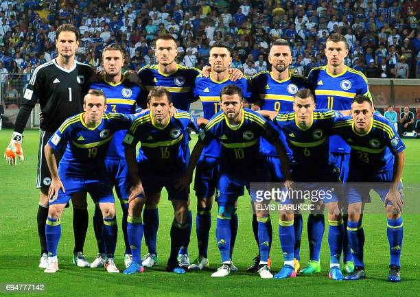 National soccer team of Bosnia and Herzegovina pose before the FIFA World Cup 2018 qualification football match between Bosnia Herzegovina and Greece...