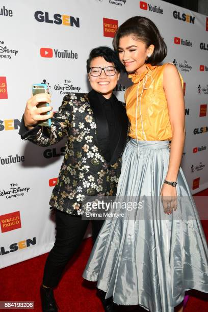 National Student Council Member Marcus Breed and honoree Zendaya at the 2017 GLSEN Respect Awards at the Beverly Wilshire Hotel on October 20 2017 in...