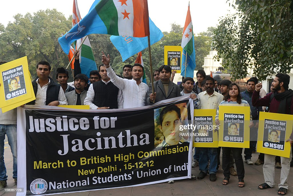 National Students Union of India activists shout slogans as they march to the British High Commission in support of Indian-born nurse Jacintha Saldanha, who was found dead after being hoaxed by an Australian radio show trying to reach Prince William's wife in London, during a protest in New Delhi on December 15, 2012. The body of the Indian-born nurse who was found hanged last week after taking a royal hoax call at a London hospital will arrive in India December 16, a police official said December 15.