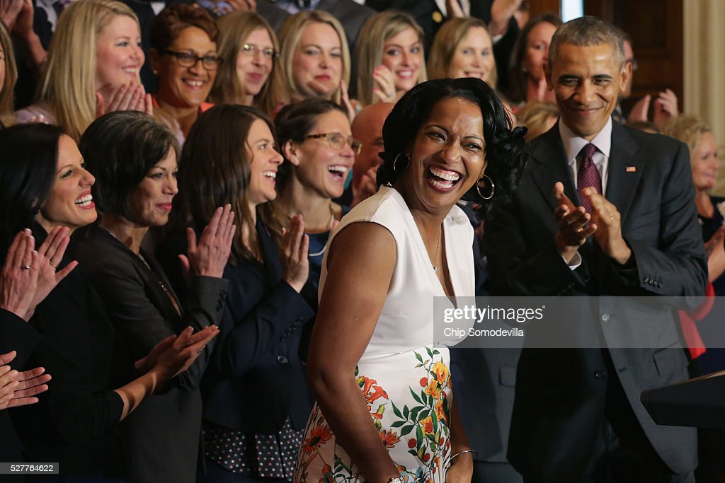 National Teacher of the Year Jahana Hayes (2nd R) of John F. Kennedy High School in Waterbury, CT, has a hard time controlling her excitement after taking the stage with U.S. President <a gi-track='captionPersonalityLinkClicked' href=/galleries/search?phrase=Barack+Obama&family=editorial&specificpeople=203260 ng-click='$event.stopPropagation()'>Barack Obama</a> (R) and her fellow state teachers of the year during a ceremony in the East Room of the White House May 3, 2016 in Washington, DC. Obama talked about the influence and importance that each classroom instructor has on the lives of their students while honoring the teachers from all 50 states and U.S. territories.