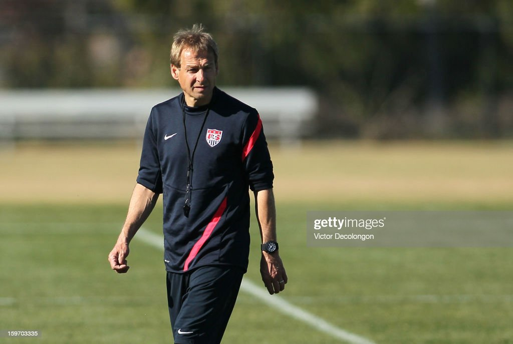U.S. National Team Coach JŸrgen Klinsmann looks on during the U.S. Men's Soccer team training session at the Home Depot Center on January 17, 2013 in Carson, California.