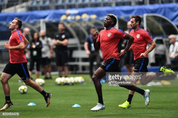 US national team member Gyasi Zardes takes part in a training session in Arlington Texas on July 21 201fo7 on the eve of the Gold Cup semifinal...