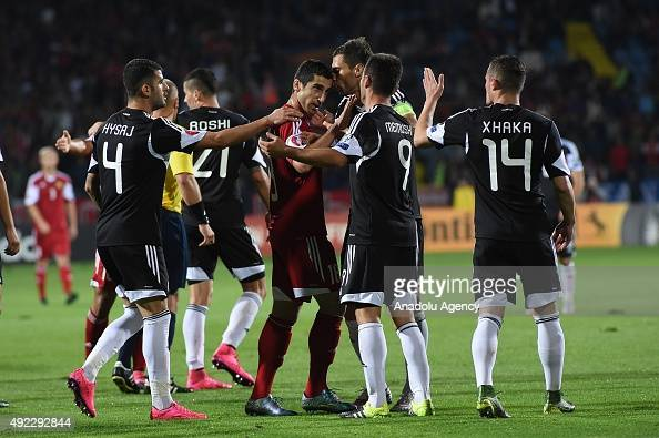 National team of Albania argue with Henrikh Mkhitaryan of Armenia during the Euro 2016 group I qualifying football match between Armenia and Albania...