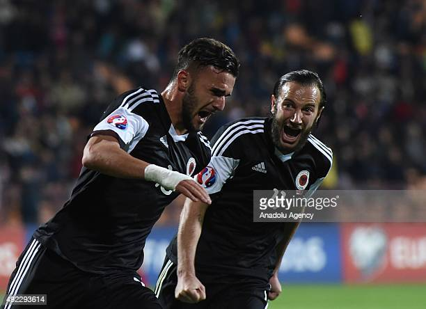National team of Albania celebrate scoring during the Euro 2016 group I qualifying football match between Armenia and Albania on October 11 2015 at...