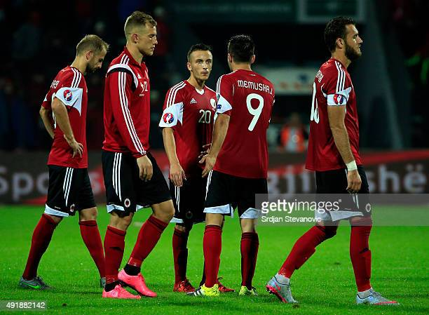 National team players of Albania look dejected after the Euro 2016 qualifying football match between Albania and Serbia at the Elbasan Arena in...
