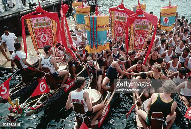 National teams vie in Hong Kong's dragon boat races From the left are the Canadians Indonesians Americans unidentified Europeans Singaporeans and...