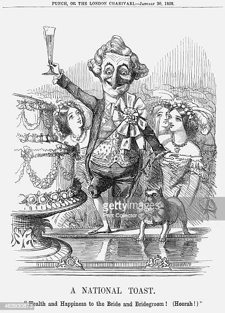 'A National Toast' 1858 'Health and Happiness to the Bride and Bridegroom ' Mr Punch as the People's representative raises a foaming glass of...