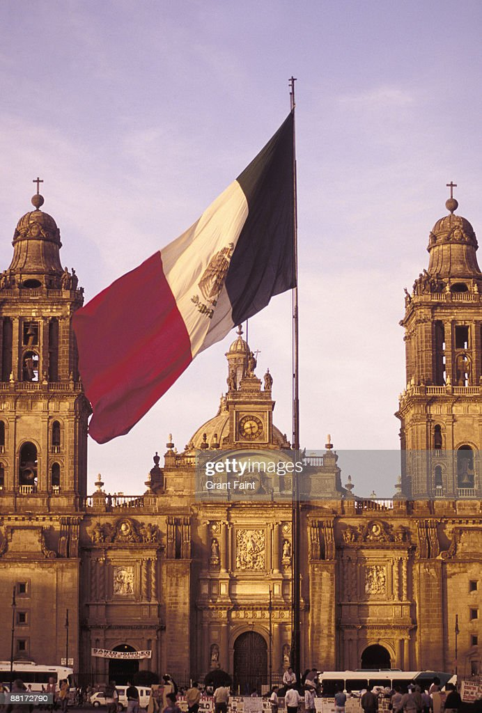 'National town square called Zocalo, Mexican flag, National Cathedral, Mexico City, Mexico.' : Stock Photo