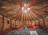 National traditional decoration of the yurt ceiling. Kazakhstani ornament. Vintage weaving of patterns. Yurt decoration. Wooden frame with patterns as an ethnic background, golden horde, Photo taken i