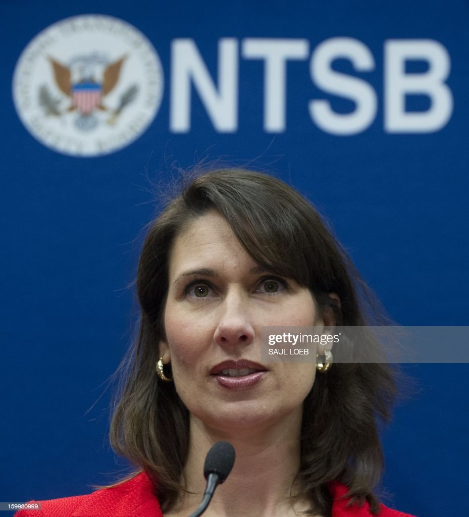 National Transportation Safety Board Chairman Deborah A.P. Hersman speaks during a press conference at NTSB Headquarters in Washington, DC, on January 24, 2013. Hersman spoke about the investigation into the battery fire aboard a Japan Airlines (JAL) Boeing 787 Dreamliner airplane at Logan International Airport in Boston earlier this month that led to the grounding of the aircraft. AFP PHOTO / Saul LOEB