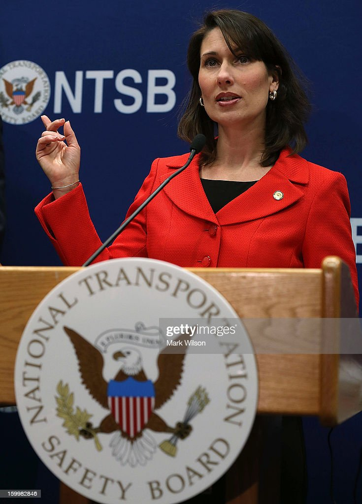 National Transportation Safety Board (NTSB) Chairman Deborah A.P. Hersman speaks during a briefing at the NTSB headquarters, on January 24, 2013 in Washington, DC. Chairman Hersman talked about the batteries that caused the fire aboard a Japan Airlines (JAL) Boeing 787 at Logan International Airport on January 7 in Boston.