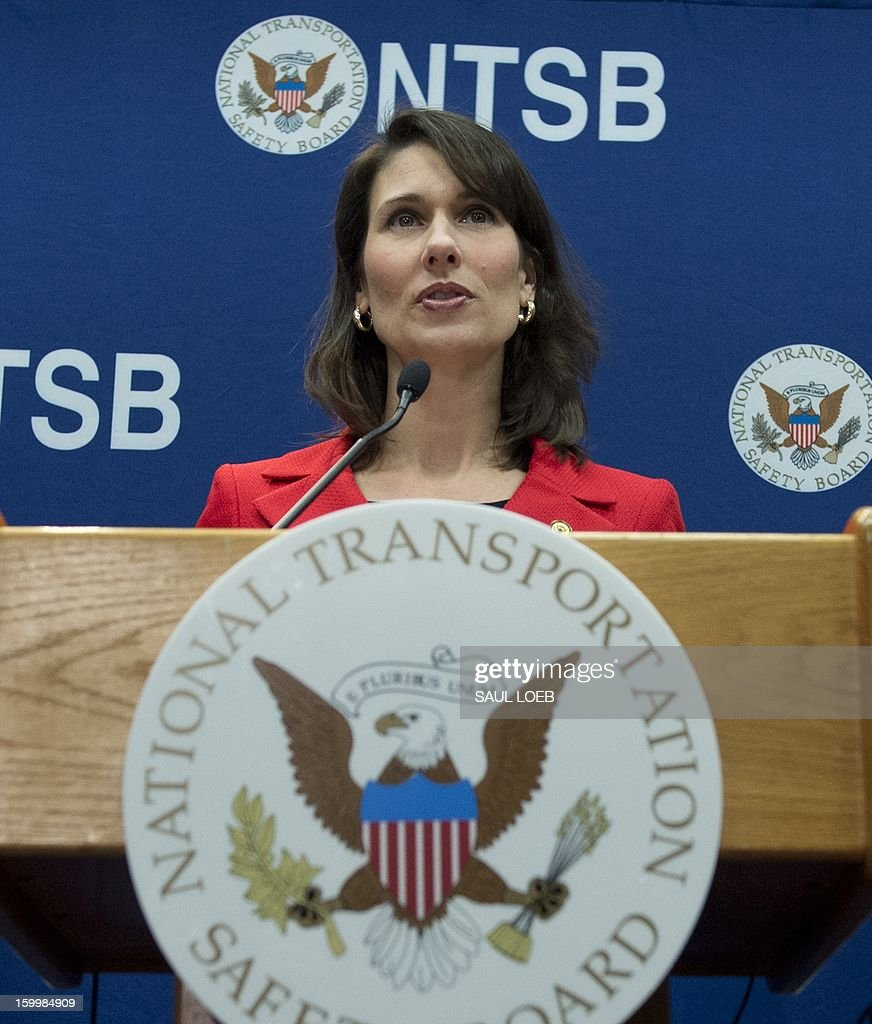 National Transportation Safety Board Chairman Deborah A.P. Hersman addresses a during a press conference at NTSB Headquarters in Washington, DC, on January 24, 2013, about the investigation into the battery fire aboard a Japan Airlines (JAL) Boeing 787 Dreamliner airplane at Logan International Airport in Boston earlier this month that led to the grounding of the aircraft. AFP PHOTO / Saul LOEB