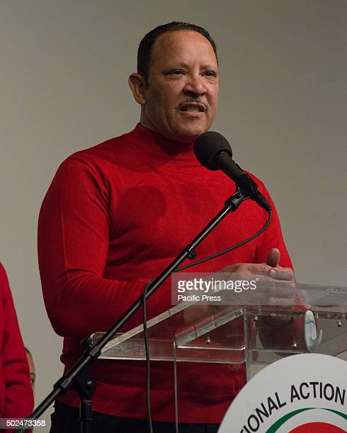 National Urban League President Marc Morial offers remarks before helping to serve the holiday meal New York City Mayor Bill de Blasio and his...