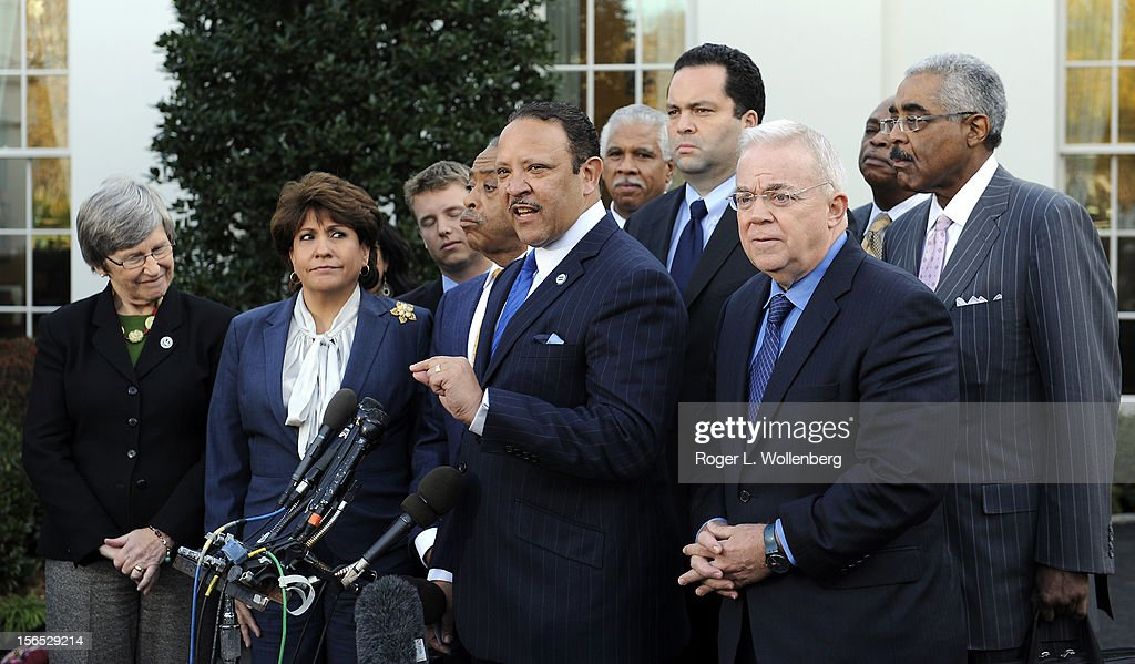 National Urban League President Marc Morial (C) speaks to the media after leaders of civic organizations and other outside groups met with U.S. President Barack Obama at the White House on November 16, 2012 in Washington, DC. The meeting focused on economic concerns, taxes and health care.