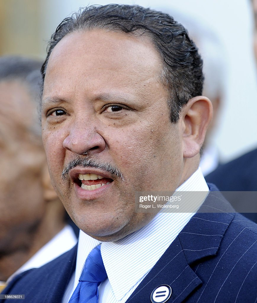 National Urban League President Marc Morial speaks to the media after leaders of civic organizations and other outside groups met with U.S. President Barack Obama at the White House on November 16, 2012 in Washington, DC. The meeting focused on economic concerns, taxes and health care.