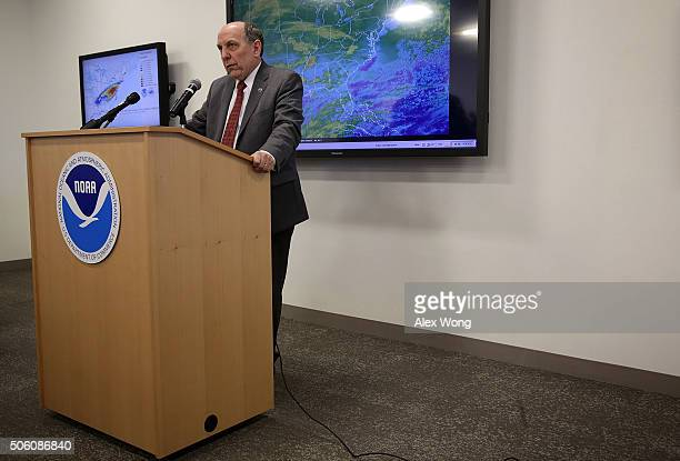 National Weather Service Director Louis Uccellini speaks during a news conference on a winter storm forecast January 21 2016 at the NOAA Center for...