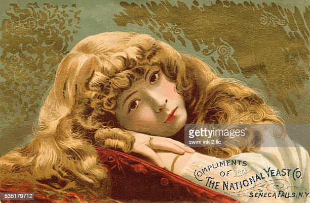National Yeast Co Trade Card with Girl Resting Head on Arms