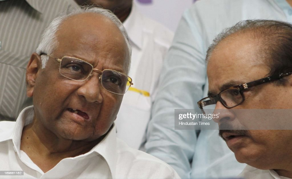 Nationalist Congress Party President Sharad Pawar along with Tariq Anwar during the party's National Youth Congress