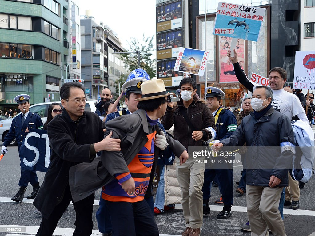 A nationalist (C) is taken away by police officers while protesting against the anti-whaling and anti-dolphin-hunting march in Tokyo on November 24, 2012. Dozens of people marched through central Tokyo to protest dolphin and whale hunts, angering nationalists who blamed the move as discrimination against Japanese tradition.