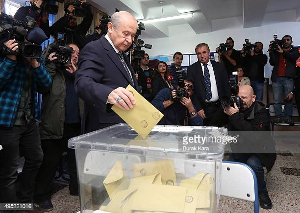 Nationalist Movement Party leader Devlet Bahceli casts his vote at a polling station during a general election on November 1 in Ankara Turkey Polls...