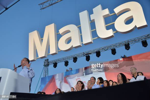 Nationalist Party MP Beppe Fenech Adami speaks at a party rally in Floriana Malta on Thursday June 1 2017 Malta will hold a national general election...