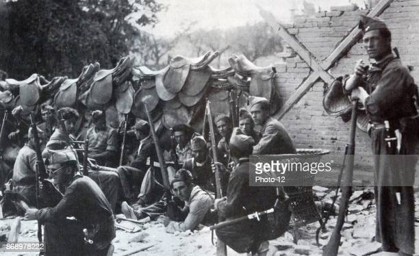 Nationalist soldiers at a captured outpost during the Spanish Civil War