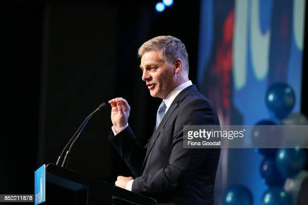 National's Bill English speaks to supporters at Sky City on September 23 2017 in Auckland New Zealand With results too close to call no outright...