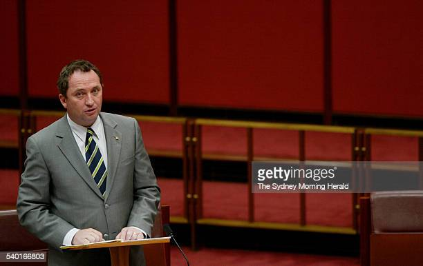 Nationals senator Barnaby Joyce puts forward a motion on the Trade Practices Amendment Bill in the Senate Chamber Parliament House Canberra 11...