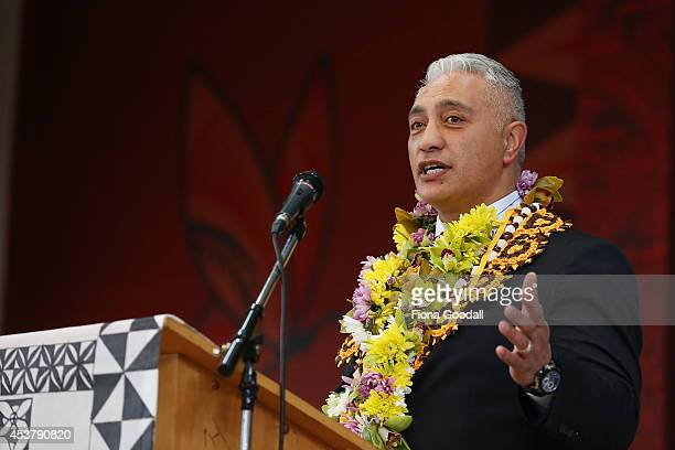 National's Te Atatu candidate Alfred Ngaro speaks to the congregation at the Ranui Pacific Island Church on August 19 2014 in Auckland New Zealand...