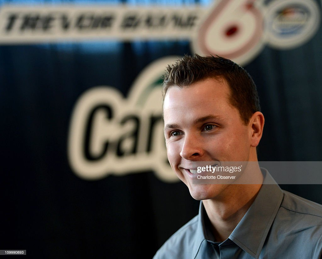 Nationwide and Sprint Cup Series driver Trevor Bayne is interviewed during a break out session at the Sprint NASCAR Media Tour on Thursday, January 24, 2013, at the NASCAR Hall of Fame in Charlotte, North Carolina.