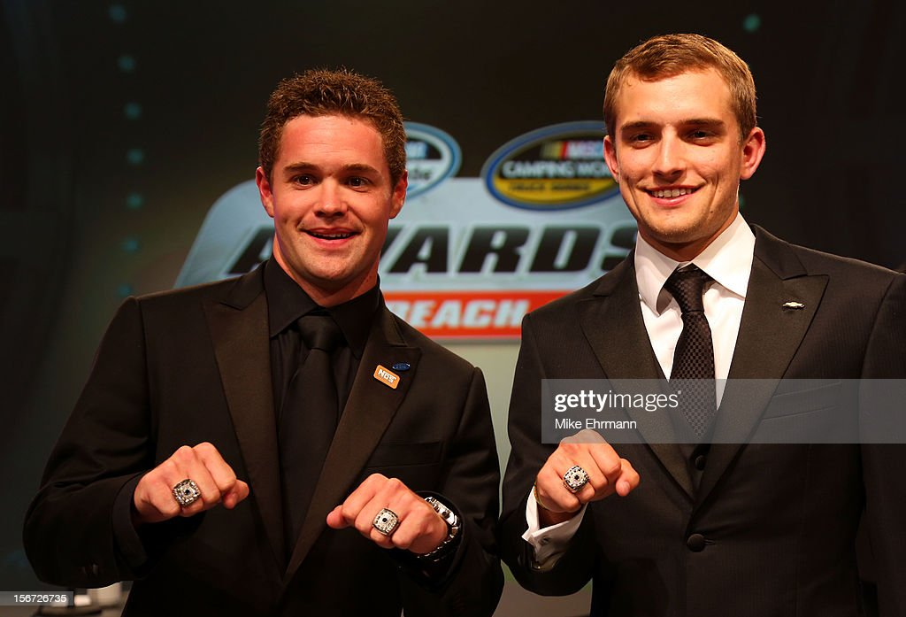 Nationwide Series Champion Ricky Stenhouse Jr. Camping World Truck Series Champion James Buescher pose with their rings during the NASCAR Nationwide Series And Camping World Truck Awards Banquet at Loews Miami Beach on November 19, 2012 in Miami Beach, Florida.