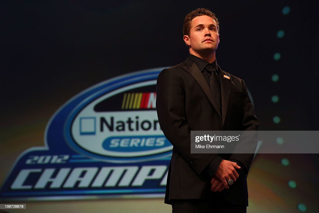 Nationwide Series Champion <a gi-track='captionPersonalityLinkClicked' href=/galleries/search?phrase=Ricky+Stenhouse+Jr.&family=editorial&specificpeople=5380612 ng-click='$event.stopPropagation()'>Ricky Stenhouse Jr.</a> looks on during the NASCAR Nationwide Series And Camping World Truck Awards Banquet at Loews Miami Beach on November 19, 2012 in Miami Beach, Florida.