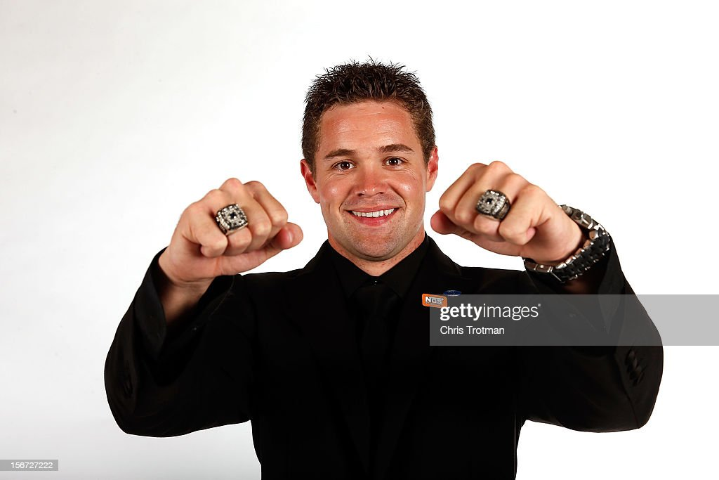Nationwide Series Champion <a gi-track='captionPersonalityLinkClicked' href=/galleries/search?phrase=Ricky+Stenhouse+Jr.&family=editorial&specificpeople=5380612 ng-click='$event.stopPropagation()'>Ricky Stenhouse Jr.</a> poses with his two rings during the NASCAR Nationwide Series And Camping World Truck Awards Banquet at Loews Miami Beach on November 19, 2012 in Miami Beach, Florida.