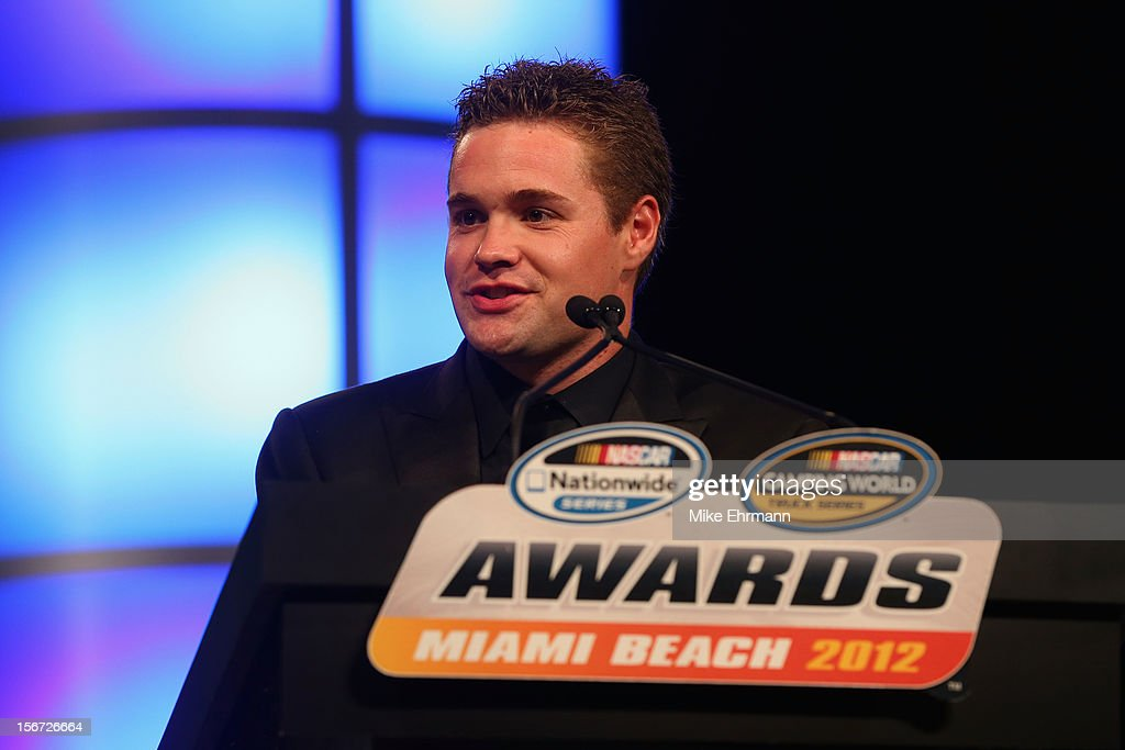 Nationwide Series Champion <a gi-track='captionPersonalityLinkClicked' href=/galleries/search?phrase=Ricky+Stenhouse+Jr.&family=editorial&specificpeople=5380612 ng-click='$event.stopPropagation()'>Ricky Stenhouse Jr.</a> speaks during the NASCAR Nationwide Series And Camping World Truck Awards Banquet at Loews Miami Beach on November 19, 2012 in Miami Beach, Florida.