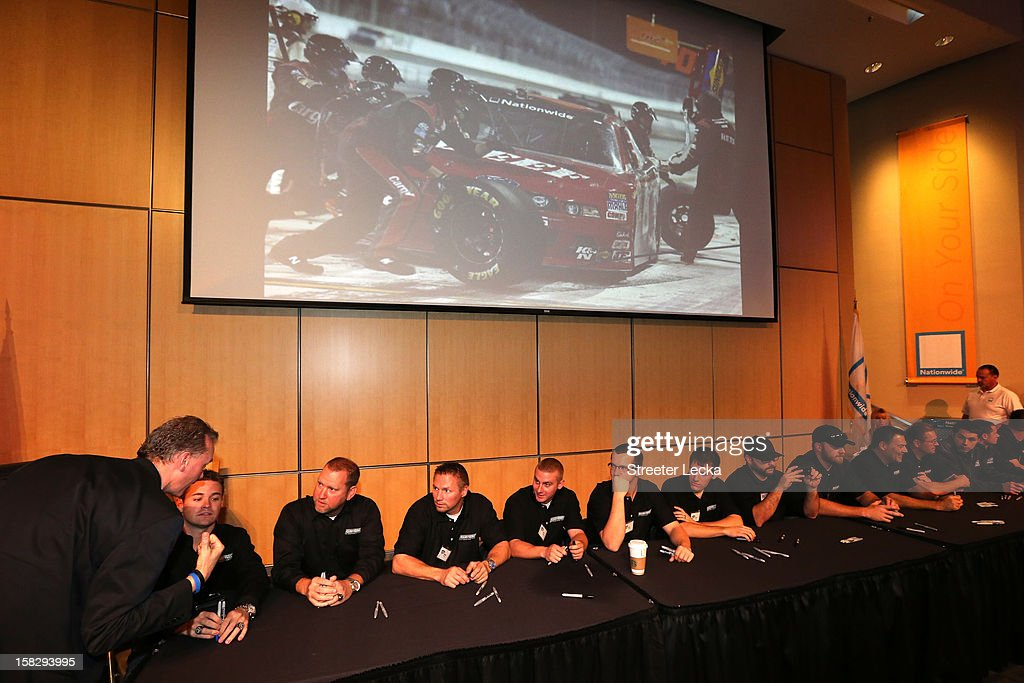Nationwide Series Champion team sign autographs at the Nationwide Headquarters during the NASCAR Nationwide Series Champion's Day on December 12, 2012 in Columbus, Ohio