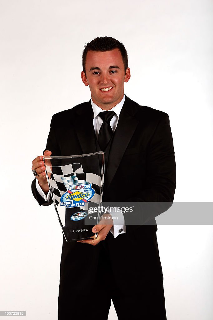 Nationwide Series driver Austin Dillon poses with the Rookie of the Year Award during the NASCAR Nationwide Series And Camping World Truck Awards Banquet at Loews Miami Beach on November 19, 2012 in Miami Beach, Florida.