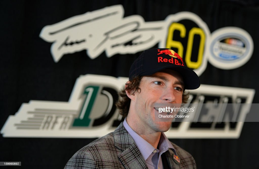 Nationwide Series driver Travis Pastrana is interviewed during a break out session at the Sprint NASCAR Media Tour on Thursday, January 24, 2013, at the NASCAR Hall of Fame in Charlotte, North Carolina.