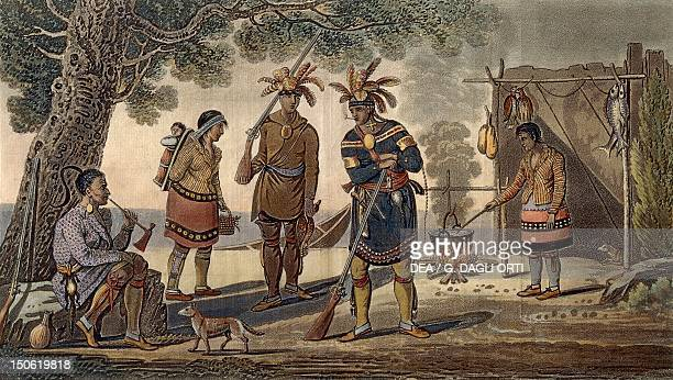 Native American costumes colour engraving copied from Herriot Native American Civilization United States 19th century