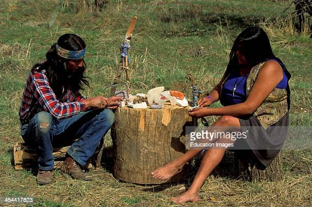 Native American Couple Man Is Apache and Woman Is Taos Pueblo Cheyenne Carving Bear Fetishes From Stone